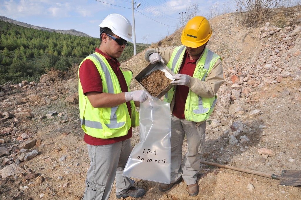 Collecting soil for sampling at Eldorado Gold's Kisladag mine in Turkey
