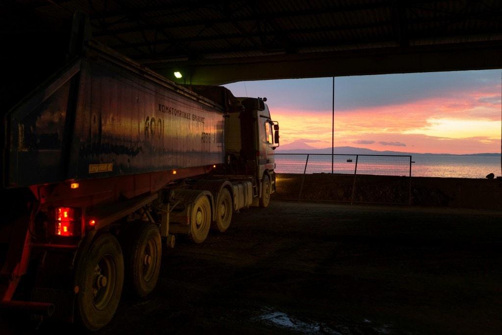 Tailings storage at Eldorado Gold's Stratoni lead zinc mine in Greece at sunset