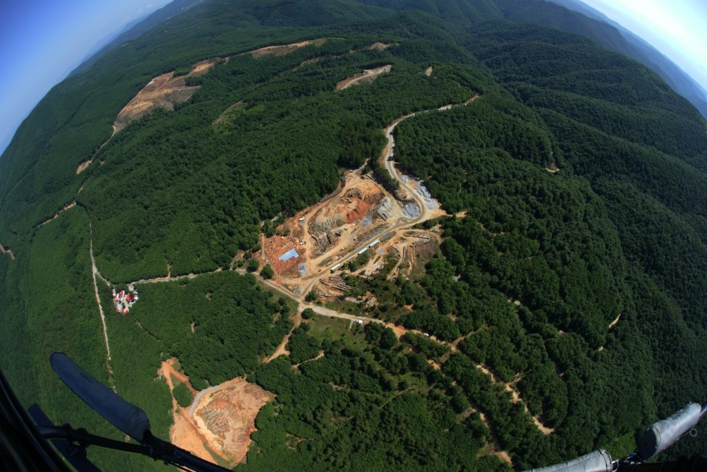 Aerial view of the Skouries mine site area that will be reforested at the end of the mine life.