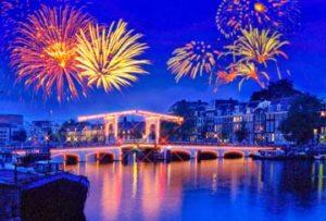 Firework display in Amsterdam celebrating the holidays.