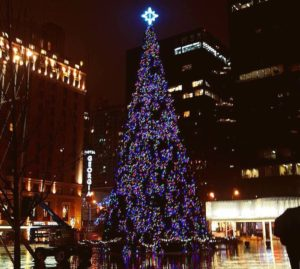76-foot holiday tree in Robson Square.
