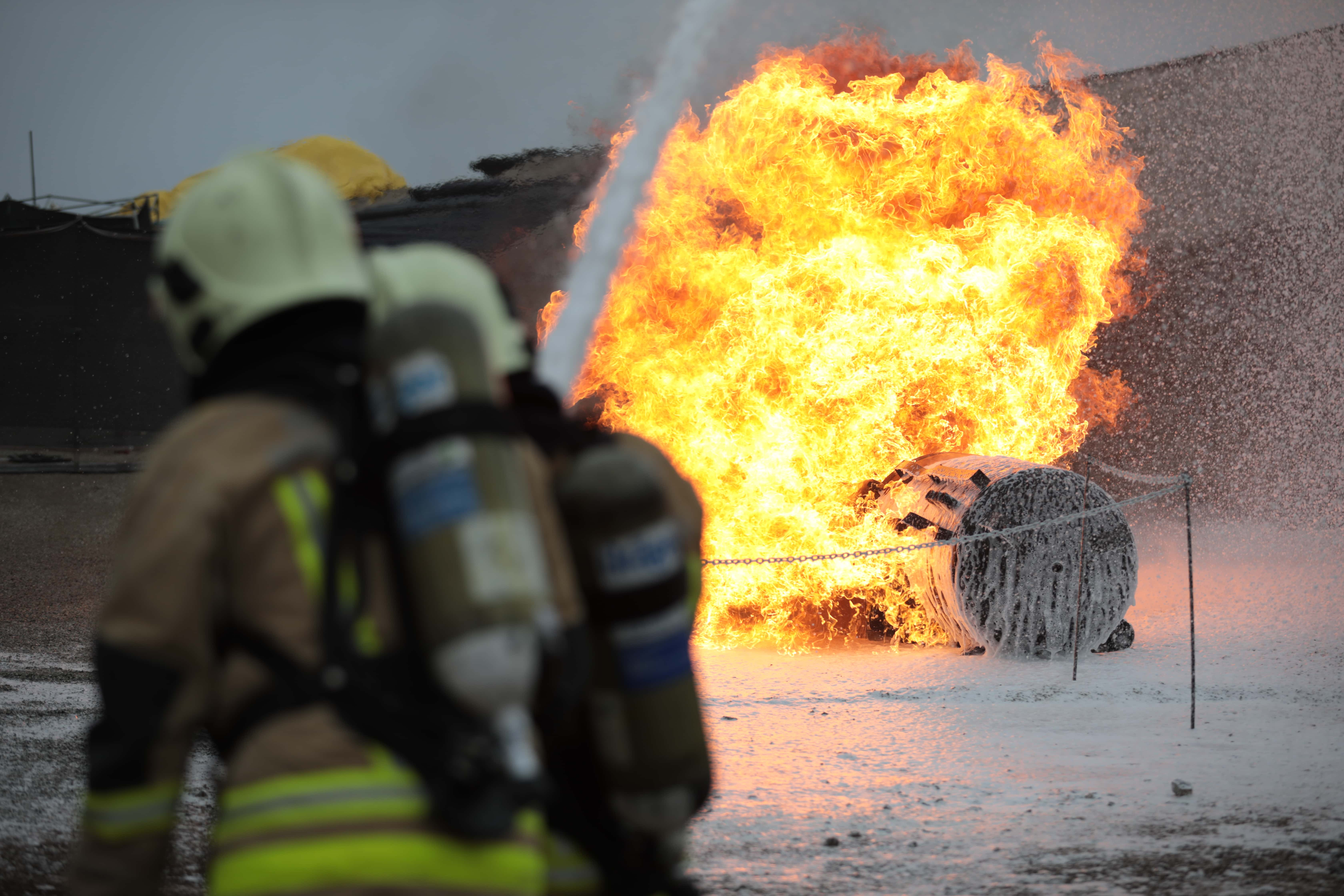 Fire fighting activity during the mine rescue competition
