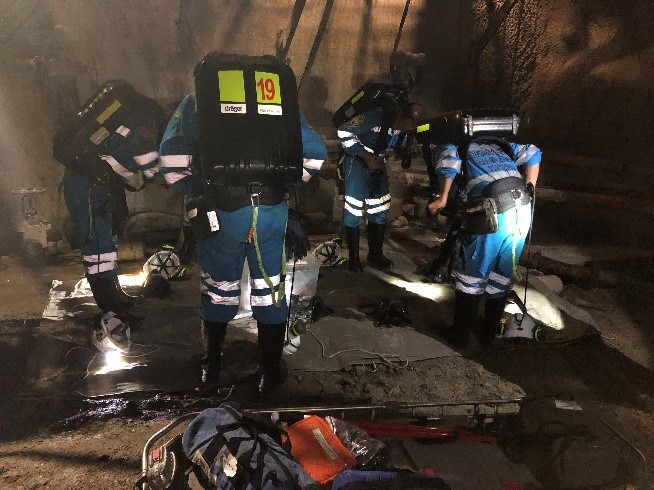 Underground search and rescue activity during the mine rescue competition