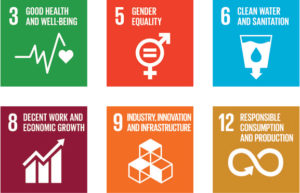 Image of 6 icons for the United Nations Sustainable Development Goals